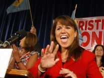 Delaware Republican senatorial candidate ODonnell celebrates a win in the republican primary at her campaign victory event in Dover Delaware