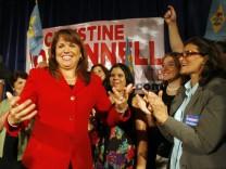 Delaware Republican senatorial candidate Christine O'Donnell celebrates her win in the Republican primary at her campaign victory event in Dover