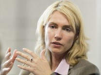 Schwesig of Germany's Social Democratic Party (SPD) gestures during an interview with Reuters in Berlin