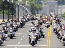 The first wave of thousands of motorcycle riders take part in the annual Rolling Thunder demonstration in Washington