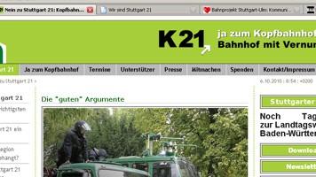 Stuttgart21 Offensive im Netz K21 TTT