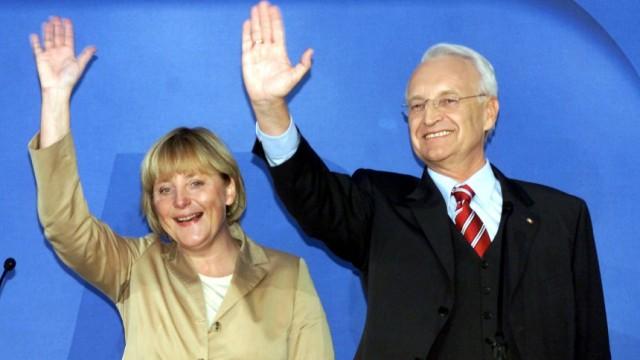 Angela Merkel und Edmund Stoiber am Tage der Bundestagswahlen, 2002