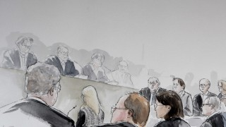 Drawing of defendant Swiss meteorologist and TV weather host Kachelmann listening to plaintiff Sabine W at country court in Mannheim