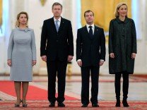 Russia's President Medvedev and his wife Svetlana meet German President Wulff and his wife Bettina at the Kremlin in Moscow