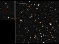 This image shows the infrared Hubble Ultra Deep Field taken by the NASA/ESA Hubble Space Telescope in 2009