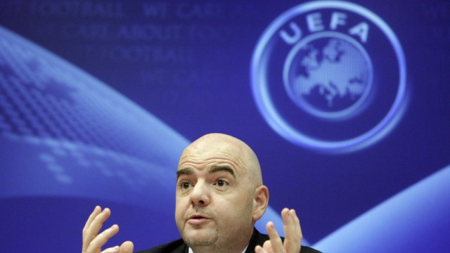 Infantino UEFA General Secretary reacts during a news conference after a meeting with nine Football Associations at the UEFA in Nyon