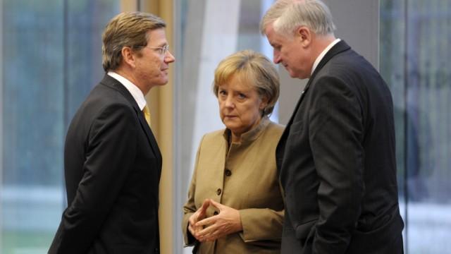 Ein Jahr schwarz-gelbe Koalition Seehofer Westerwelle Merkel dapd FDP CDU CSU