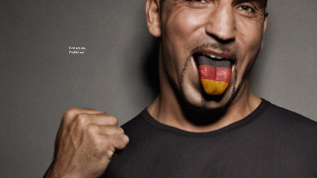 A handout photo shows German cruiserweight boxer Firat Arslan as a part of German language motivating campaign