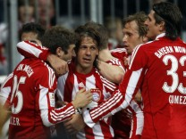 Demichelis of Bayern Munich celebrates a goal against Freiburg during their German Bundesliga first division soccer match in Munich