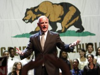Democratic candidate for California Governor Jerry Brown celebrates his victory during his election night rally in Oakland