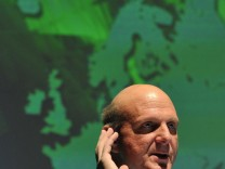 Microsoft chief executive Steve Ballmer addresses the 'Government Leaders Forum Europe' conference in central London