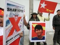 Protest in Bangkok gegen Wahlen in Birma