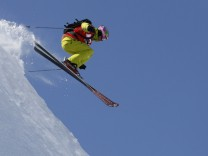Ducroz of France performs during the Xtreme men's ski freeride contest on the Bec des Rosses mountain in Verbier