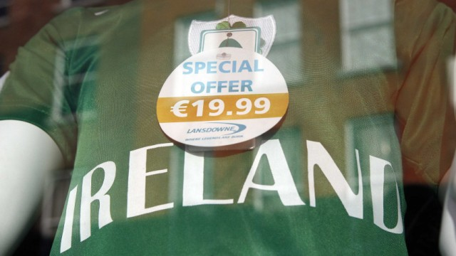 An Irish Rugby jersey is seen for sale in a gift shop on O'Connell Street  in central Dublin