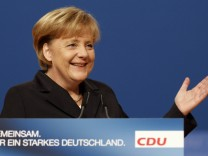 Merkel German Chancellor and leader of CDU officially opens the party convention of the CDU in Karlsruhe