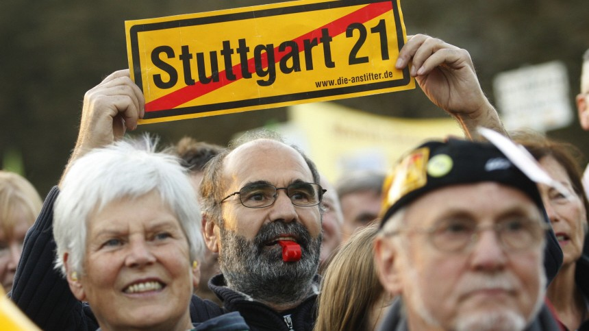 Demonstrators protest against the proposed demolition of the historical Stuttgart train station