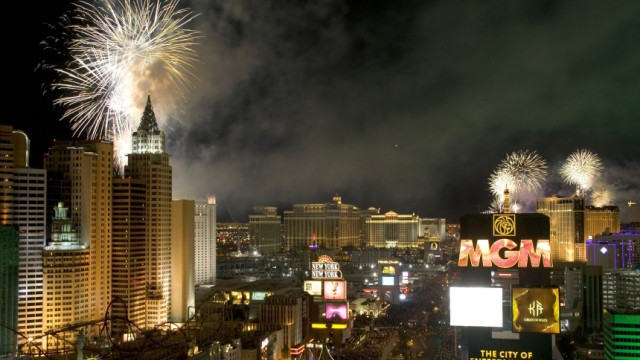 File photo shows fireworks over Las Vegas Strip casinos just after midnight in Las Vegas