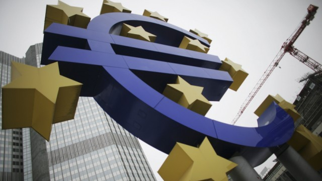 Sculpture showing the Euro currency sign is seen in front of the European Central Bank (ECB) headquarters in Frankfurt