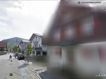 A still image from the web site of Google Street View shows a house made unrecognisable upon demands of its inhabitants in Oberstaufen