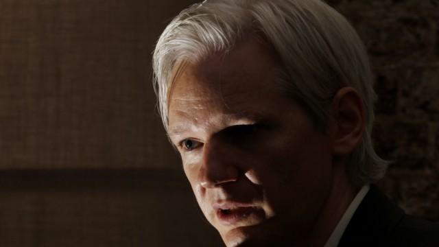 File photo of Julian Assange in London