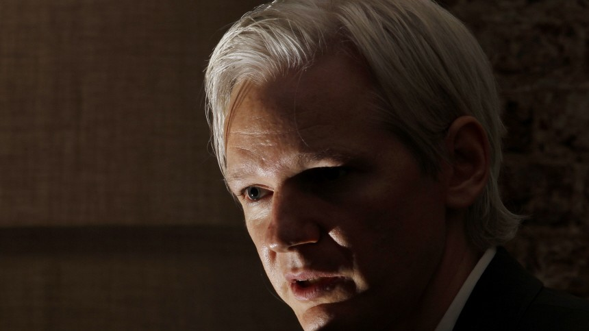 File photo of Julian Assange in London