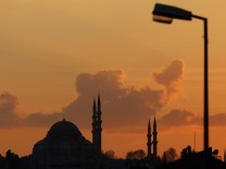 Sun sets over an Ottoman-era mosque in Istanbul