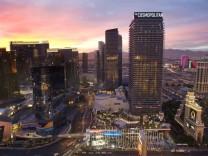 The Cosmopolitan of Las Vegas is shown at sunset in Las Vegas