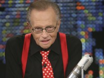 Larry King is seen during the final broadcast of Larry King Live at the Los Angeles studio