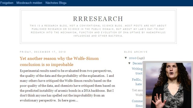 Rosie Redfield Blog Felisa Wolfe-Simon'