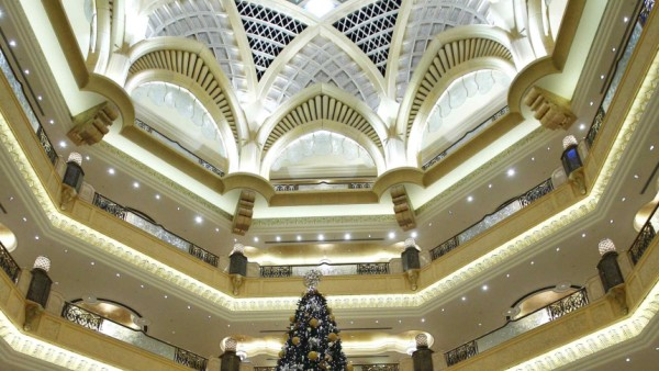 THe $11 million Christmas tree stands in the lobby of the Emirates Palace in Abu Dhabi