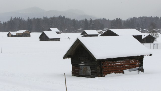 Snow covered meadow pictured in Garmisch-Partenkirchen