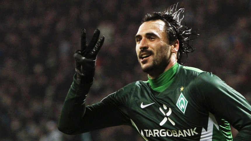 Werder Bremen's Almeida celebrates goal against FC St Pauli during German Bundesliga soccer match  in Bremen