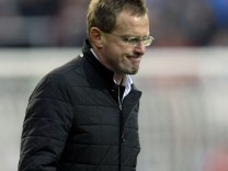 File picture shows Hoffenheim coach Rangnick leaving pitch following his team's German Bundesliga soccer match against Werder Bremen in Bremen