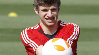 Bayern Munich's Thomas Mueller attends a training session at Aspire Academy for Sports Excellence in Doha