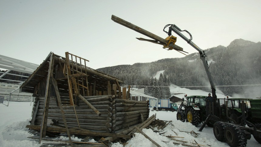 Hay stable is destroyed to make space near finish area of Kandahar racing course for Alpine Skiing World Championships in Garmisch-Partenkirchen