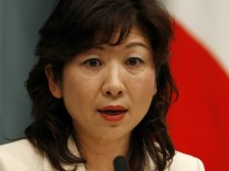 Newly appointed Japan's Consumer Affairs Minister Noda speaks during news conference in Tokyo