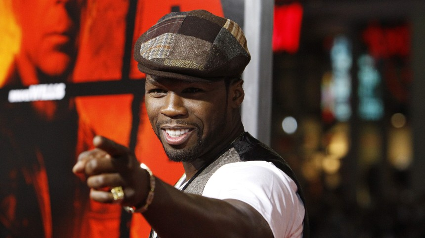 Curtis '50 Cent' Jackson gestures at a special screening of the movie 'Red' in Hollywood