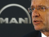 CEO of German conglomerate MAN AG Samuelsson speaks during the company's annual news conference in Munich