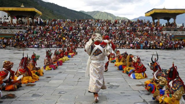 Bhutanese dancers take part in the annual Tsechu festival in Thimphu