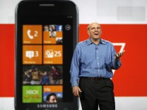 Microsoft CEO Steve Ballmer talks about the Windows 7 phone during his keynote address on the eve of the Consumer Electronics Show in Las Vegas