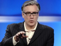 File picture shows co-host Olbermann answering questions during panel for 'NBC Sunday Night Football' at Television Critics Association Summer Press Tour in Beverly Hills