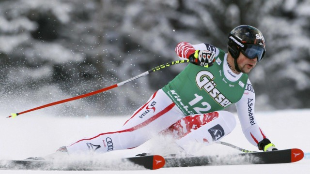 Hargin of Sweden competes during men's slalom race at Alpine Skiing World Cup in Kitzbuehel