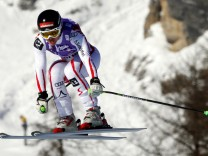 Goergl of Austria is airborne during the FIS Alpine Skiing World Cup women's Downhill event in Cortina D'Ampezzo