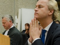 Dutch anti-Islam lawmaker Geert Wilders  looks on upon his return to court, as a second set of judges consider how his trial for alleged hate speech should continue in Amsterdam