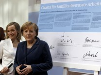 German Families Minister Schroeder and Chancellor Merkel attend summit in Berlin
