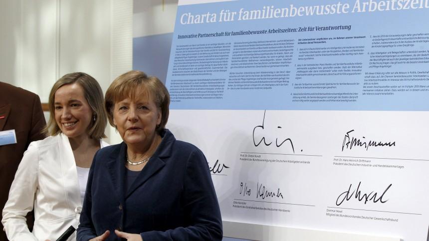 German Families Minister Schroeder and Chancellor Merkel attend summit in Berlin