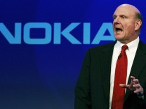 Microsoft chief executive Steve Ballmer speaks at a Nokia event in London
