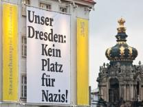 Protest gegen Neonazidemos in Dresden
