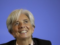 France's Economy Minister Lagarde attends news conference after talks with German Finance Minister Schaeuble in Berlin