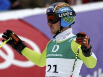 Neureuther of Germany reacts after competing in the men's giant slalom race during the Alpine Skiing World Championships in Garmisch-Partenkirchen